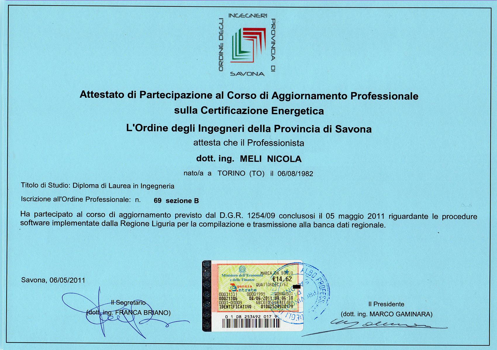 Nicola meli ingegnere dell 39 ambiente - Regione liguria certificazioni energetiche ...